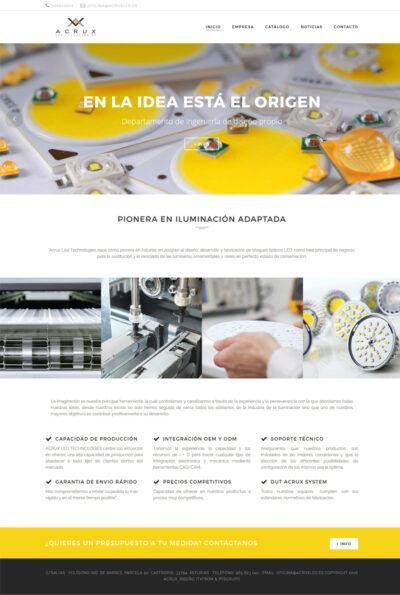 Previsualización del interior de la web realizada para Acrux Led