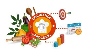 Composición del logo de cocinando procesoso, con las dos caras de la formación