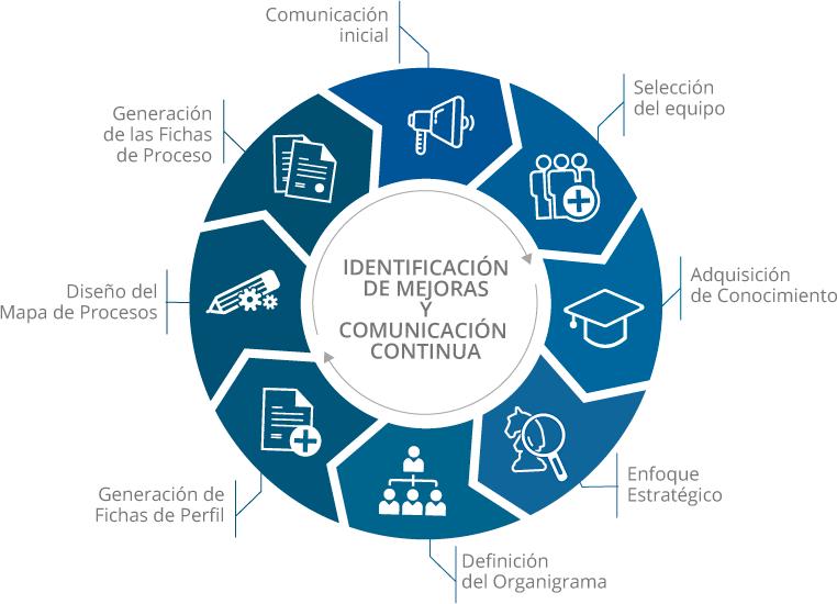 Gráfico sobre las fases de la mejora organizativa
